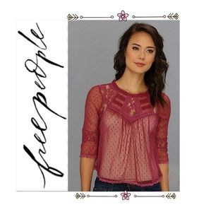 Free People Modern Romance Lace Top Rutabaga NWT